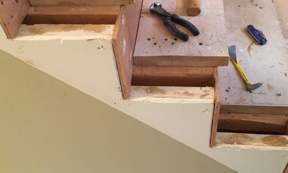 <p>Once removed the process of building out the rough stair can begin.</p>